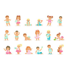 Adorable smiling babies and toddlers in blue and vector