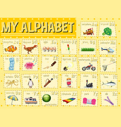 alphabet chart with letters and words vector image