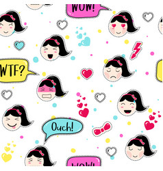 Anime style seamless pattern with cute emoji girls vector
