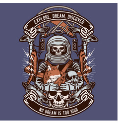 Astronaut skull and fox vector