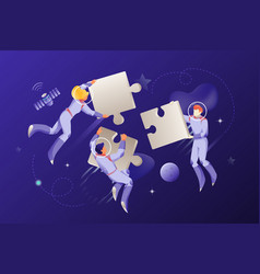 astronauts with big jigsaw puzzles vector image