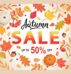 Autumn big sale banner 50 percent discount card vector