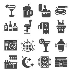 bar gray icons set cocktail drink dj vector image