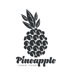 Black and white assymmetric graphic pineapple logo vector