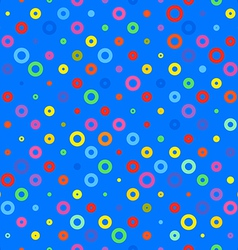 Blue background fabric with colored circles vector