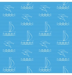 Blue seamless pattern with sailboat and dolphins vector