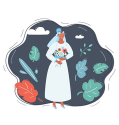 bride with a bouquet in a wedding dress vector image