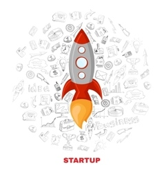 Business startup launch concept poster print vector image