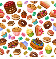 Cartoon colorful desserts seamless pattern vector