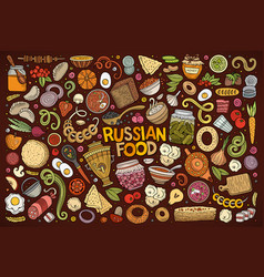 Cartoon set of russian food objects vector