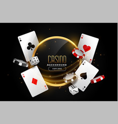 casino background with playing card chips and dice vector image