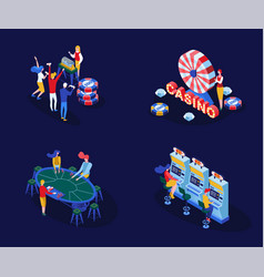 Casino games isometric set vector