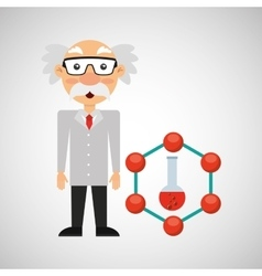 Character man scientist test tube design vector