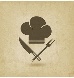 Chef hat cooking symbols old background vector