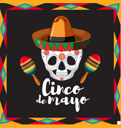 Cinco de mayo card template with skull wearing hat vector