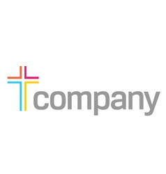 colour cross logo for church vector image