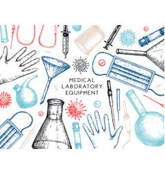 Corona virus testing laboratory equipment vector
