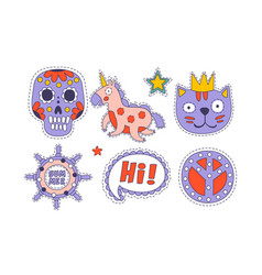 cute trendy cloth patches set colorful childish vector image