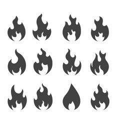 fire silhouettes simple black outline flames vector image