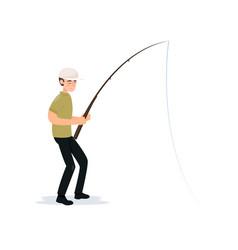 Fisherman holding fishing rod boy fisher vector