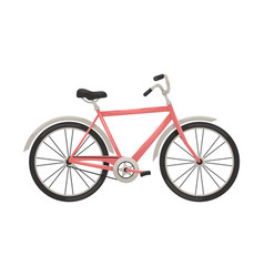 Flat bike in retro style means transportation vector