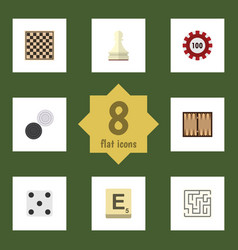 flat icon play set of mahjong labyrinth pawn and vector image