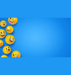 Fun 3d smiley face icons blue copyspace background vector