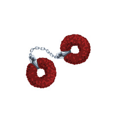 furry red handcuffs fetish stuff for role playing vector image