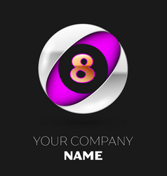 golden number eight logo in silver-purple circle vector image