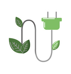 Green power energy with leaves icon vector
