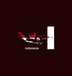 indonesia initial letter country with map and vector image