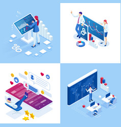 Isometric business concepts businessmen vector