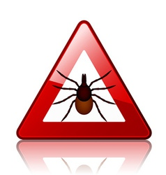 Ixodes ricinus tick road warning sign vector image