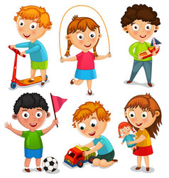 Kids are playing with toys vector