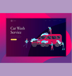 Landing page template cleaning vehicle with vector