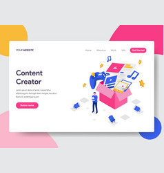 Landing page template of content creator concept vector