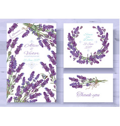 Lavender invitations set vector