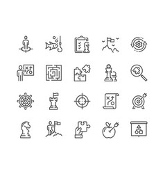 Line business strategy icons vector