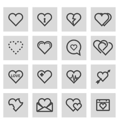 Line heart icons set vector