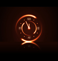 Magic red clock countdown five minute time happy vector