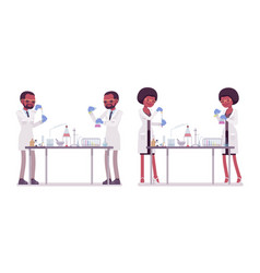 Male and female black scientist in chemical vector