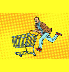 men are on sale shopping cart shop trolley vector image