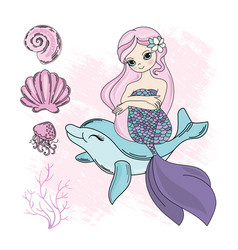 Mermaid dolphin cartoon travel tropical ill vector