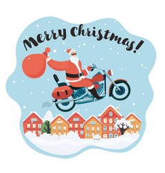 merry christmas santa claus ride motorcycle vector image