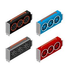 mining video card set miner of gpu technology vector image