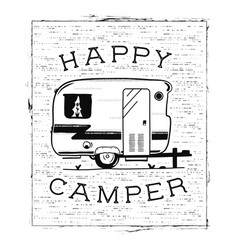 mobile recreation happy camper trailer in sketch vector image