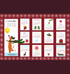 Monthly creative calendar 2018 with dog on red vector