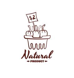Natural product monochrome emblem vector