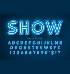 neon light 3d alphabet extra glowing origainal vector image