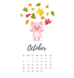 october 2019 year calendar page vector image